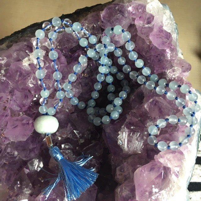 Mooie mala van aquamarijn en bergkristal