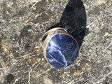 Prachtige zilveren ring van sodaliet, maat 19_