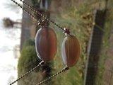 Ballchain met prachtige grote grijze agaat hangers met sterretjes_