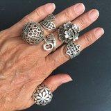 Geweldige silverplated verstelbare ring met blaadjes_