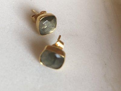 Fonkelende vierkante zilveren labradoriet oorstekers
