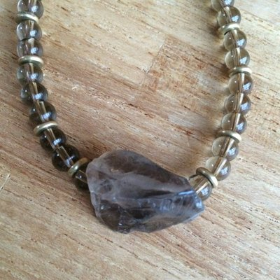 Mooie ketting van rookkwarts (smokey quartz) met grote rookkwarts