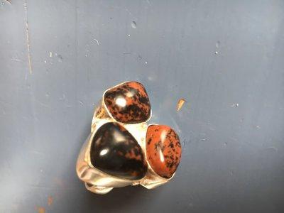 Mooie zilveren ring met 3 mahonie obsidiaan, maat 17