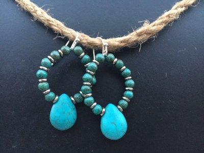 Grote oorbellen van turkooise / turquoise aan zilveren hanger