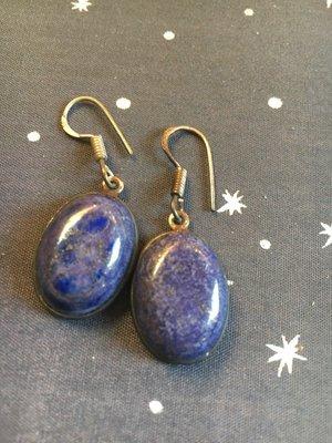 Mooie simpele ovalen oorbellen van lapis lazuli