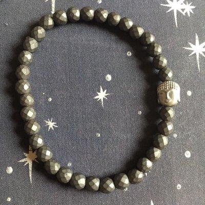 Armband van donker met hematiet met buddha