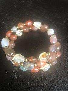 Wikkelarmband van warme kleuren agaat