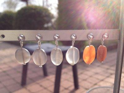 Zilveren oorstekers met maansteen