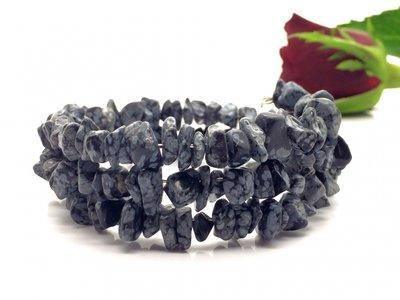 Armband van sneeuwvlok obsidiaan splitkralen