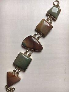Armband van 925 zilver en mookaiet